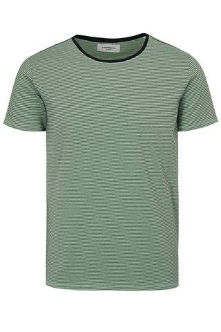 Tricou verde deschis in dungi cu maneci scurte Lindbergh