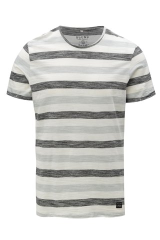 Tricou negru-crem slim fit in dungi Blend