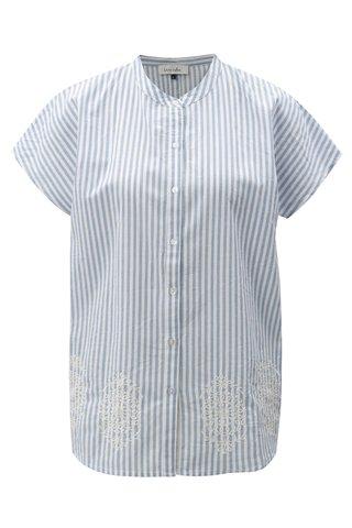 Bluza alb-albastru in dungi cu broderie Blendshe Camilia