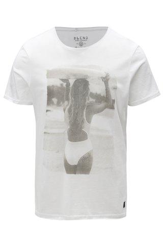Tricou alb slim fit cu print de dama Blend