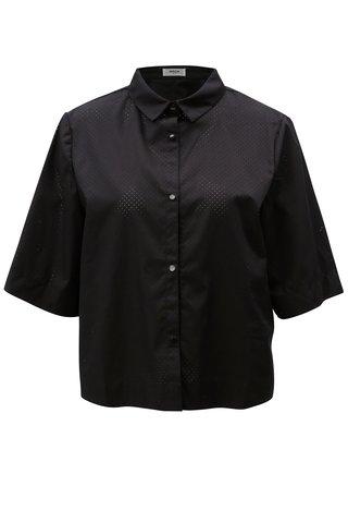 Černá košile s dírkovaným vzorem Moss Copenhagen