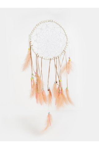Dreamcatcher alb-roz cu pene Kaemingk