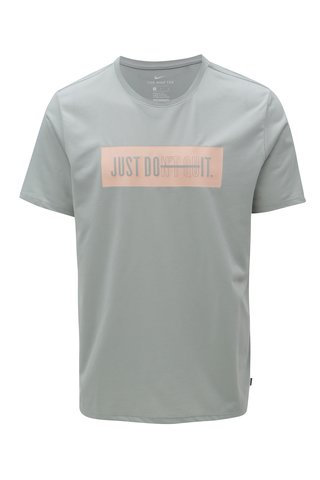 Tricou barbatesc gri deschis functional cu print Nike