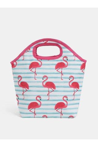 Geanta termica alb-roz cu dungi si motiv flamingo Kaemingk