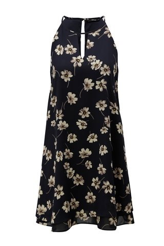 Rochie albastru inchis cu model floral fara maneci ONLY Jenifer