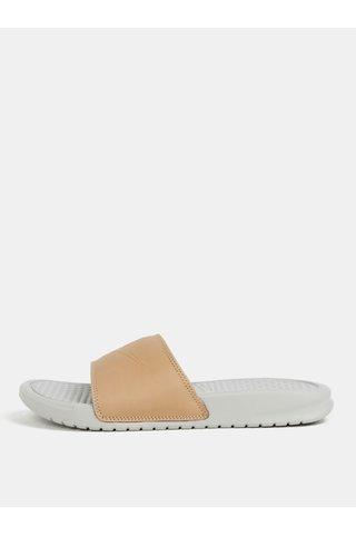Papuci de dama bej-gri Nike Benassi