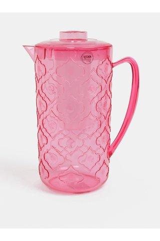 Carafa de apa si cana roz cu model Kaemingk