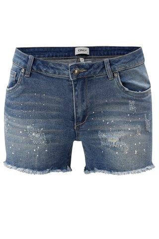 Pantaloni scurti albastri din denim cu pietre si talie joasa ONLY Dylan