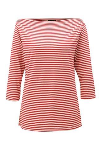 Tricou alb-rosu in dungi cu maneci 3/4 ZOOT