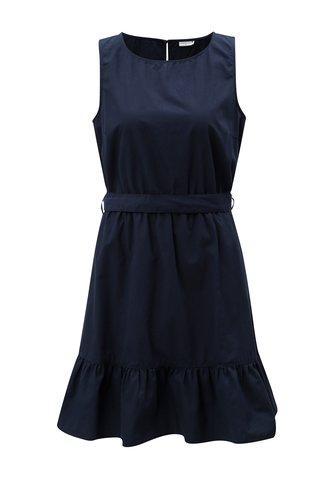 Rochie albastru inchis cu volan si cordon Jacqueline de Yong Damilla