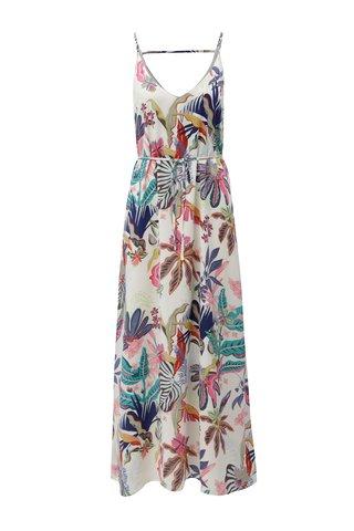 Rochie maxi alba cu model floral si bretele ONLY Malibu