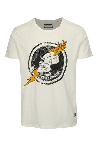 Tricou alb cu imprimeu craniu Shine Original