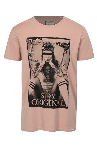 Tricou roz deschis cu imprimeu Game Shine Original