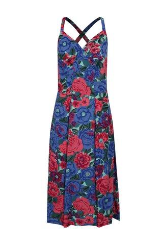 Rochie roz-albastru cu model floral Fever London Dahlia