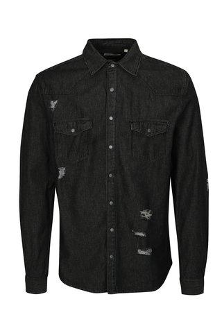 Camasa neagra de blugi cu efect rupt Shine Original