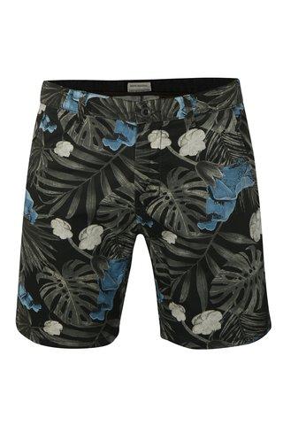 Pantaloni negri chino cu model floral Shine Original