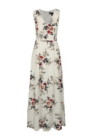 Rochie maxi crem cu model floral Mela London