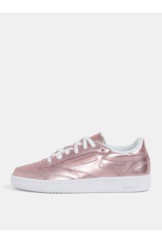 Tenisi de dama roz cu aspect metalic din piele naturala Reebok Club C 85