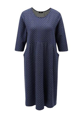 Rochie albastru inchis cu buline si maneci 3/4 ZOOT