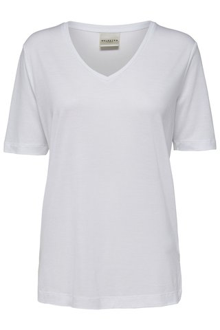 Tricou alb cu decolteu in V Selected Femme Lyro