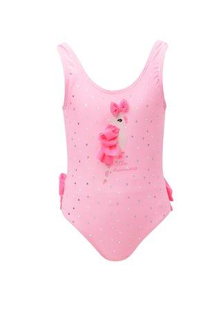 Růžové holčičí jednodílné plavky s volány a papouškem 5.10.15.