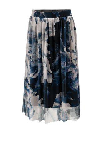 Fusta crem-albastru cu model floral VERO MODA Lago