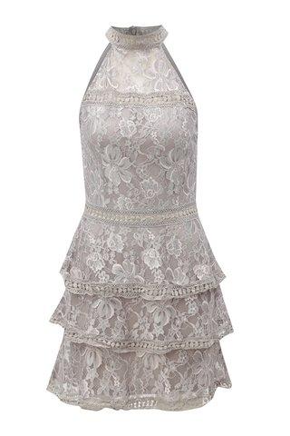 Rochie gri deschis fara bretele cu model floral AX Paris