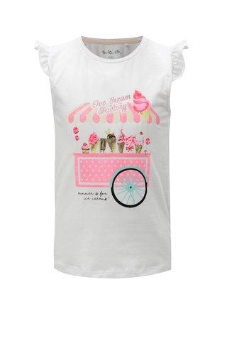 Bílé holčičí tričko s třpytivým potiskem 5.10.15.