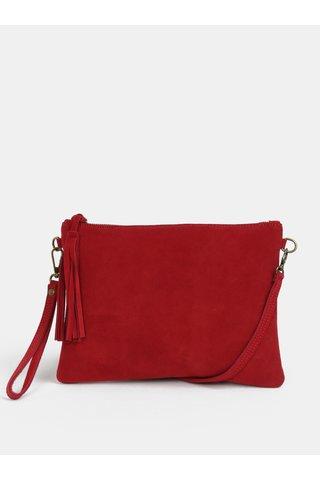 Červená crossbody semišová kabelka s odepínacím popruhem ZOOT