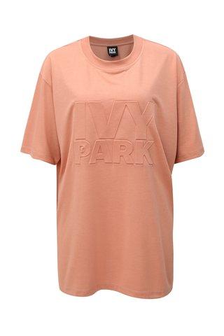 Světle růžové oversize tričko s potiskem Ivy Park