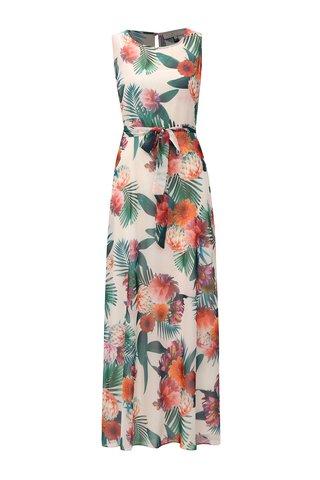 Rochie maxi rosu-crem cu model floral si cordon Billie & Blossom