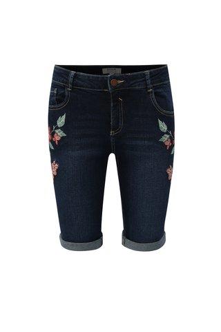 Pantaloni scurti albastru inchis din denim cu broderie Dorothy Perkins