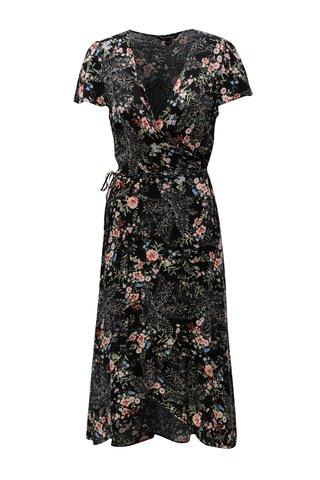 Rochie neagra cu model floral si croi suprapus Miss Selfridge