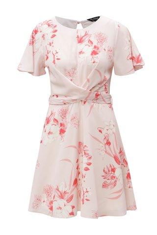 Rochie roz cu model floral si cordon in talie Miss Selfridge