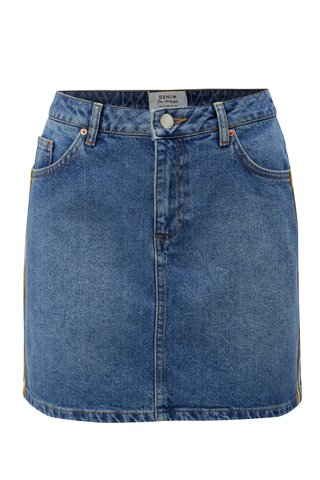 Fusta mini albastra din denim cu dungi pe laturile Miss Selfridge