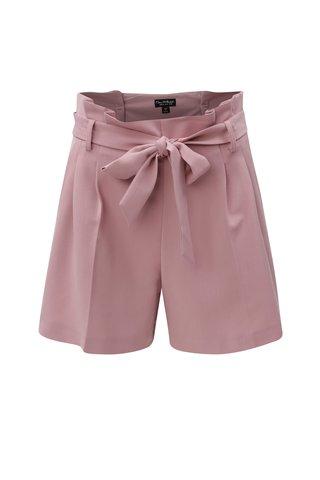 Pantaloni scurti lejeri roz prafuit  cu talie inalta Miss Selfridge