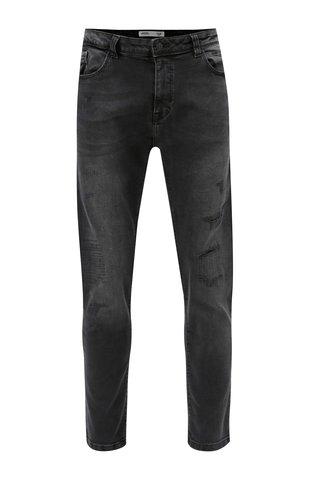 Blugi negri fit din denim cu aspect uzat Burton Menswear London
