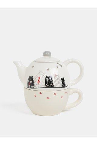 Set de cana si ceainic crem cu print de pisica Dakls