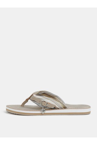Papuci flip-flop bej cu detalii cu efect glitter Tamaris