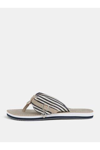 Papuci flip-flop bej cu detalii in dungi Tamaris