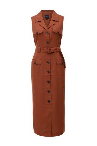 Rochie camasa maro cu cordon textil Selected Femme Linny