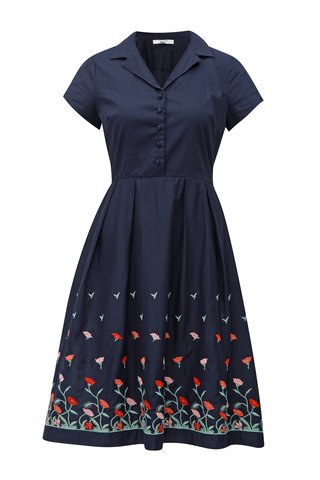 Rochie albastru inchis cu broderie florala Fever London Elsie
