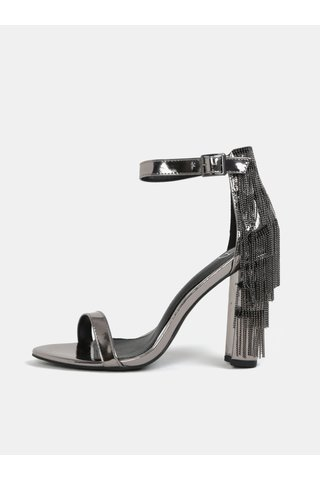 Sandale argintii cu toc si aspect metalic MISSGUIDED