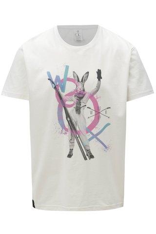 Tricou barbatesc roz-alb cu print WOOX Cuniculus Mas