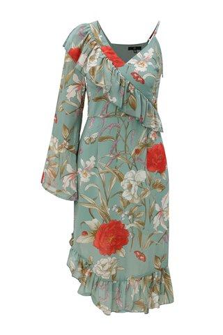Rochie verde asimetrica cu model floral si volane MISSGUIDED