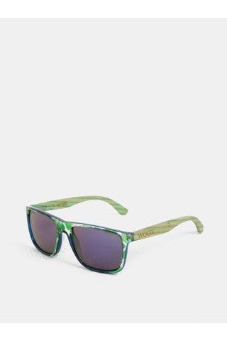 Ochelari de soare verde cu model si brate din bambus WOOX Contrasol Bambusa Chloris