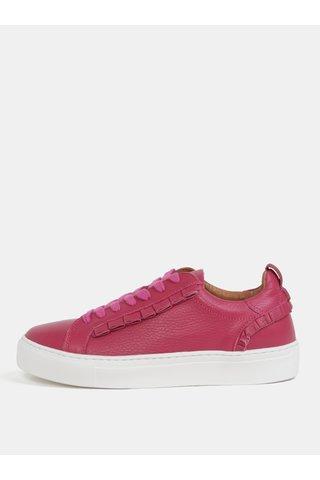 Tenisi roz din piele naturala cu platforma Selected Femme Donna