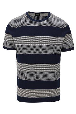 Pulover albastru inchis in dungi cu maneci scurte Burton Menswear London