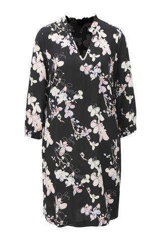 Černé květované šaty s volánkem u krku Broadway Deshae