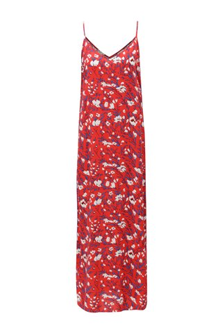 Rochie maxi rosie cu model si bretele subtiri Noisy May